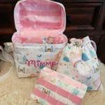 T-Bag, Einhorn, rosa, Set mit Beutel und Zusatzklappe
